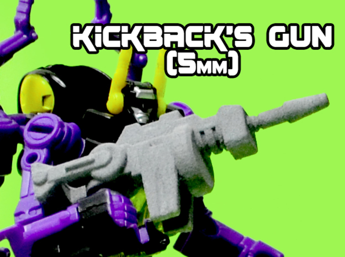 Kickback's Gun, 5mm 3d printed White strong and flexible print, hand painted.