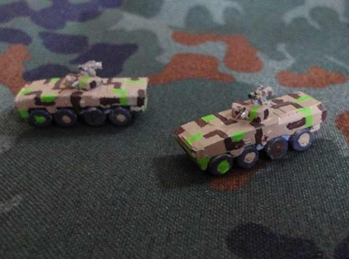 1/300 Tata Kestrel APC 3d printed WSF on the left,   Hi-Def Acrylate on the right