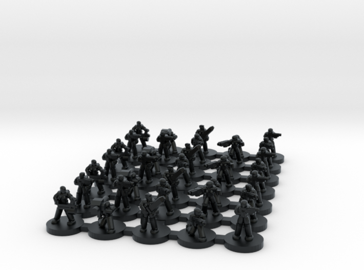 Female Power Armoured Troopers (6mm) 3d printed