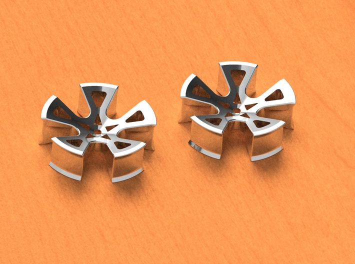 "1.5"" Earrings. Gages, Tunnel, etc... 3d printed Chrome / Stainless Example - QUICK Render"