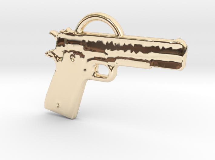 .45 Caliber Semi Auto Pistol Pendant 3d printed