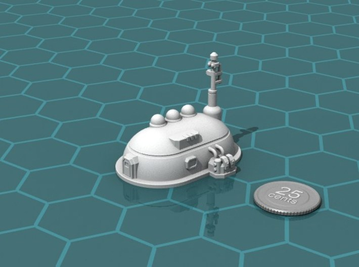 Medium Dome Habitat 3d printed Render of the model, with a virtual quarter for scale.