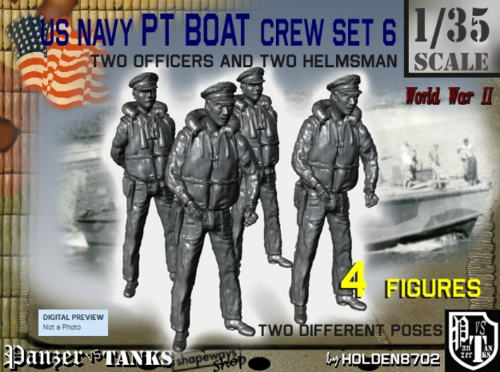 1-35 US Navy PT Boat Crew Set6 3d printed