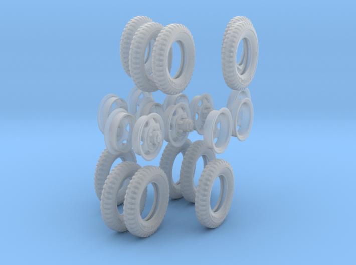 1-35 GMC Tire+Rims 750x20 Set4 3d printed