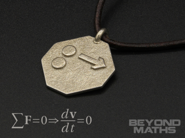 Pendant Newton's First Law 3d printed Polished Nickel Steel