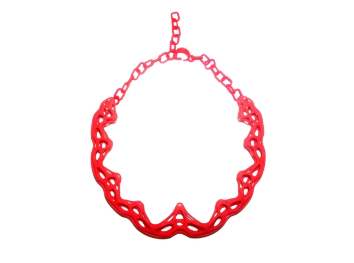 FutureFlower Necklace 3d printed Coral Red Strong & Flexible