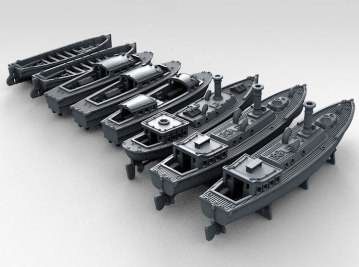 1/700 WW2 RN Boat Set 4 with Mounts 3d printed 3d render showing product detail