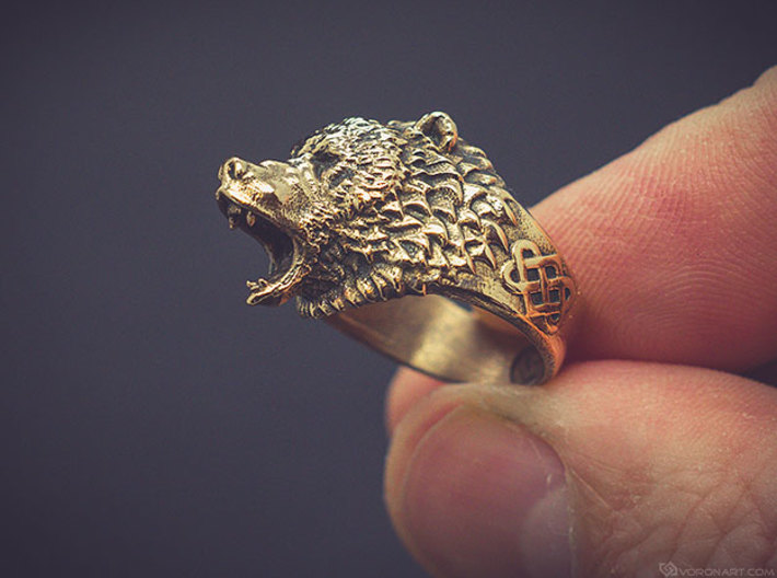 Roaring bear ring 3d printed Artificially aged (blackened) bronze