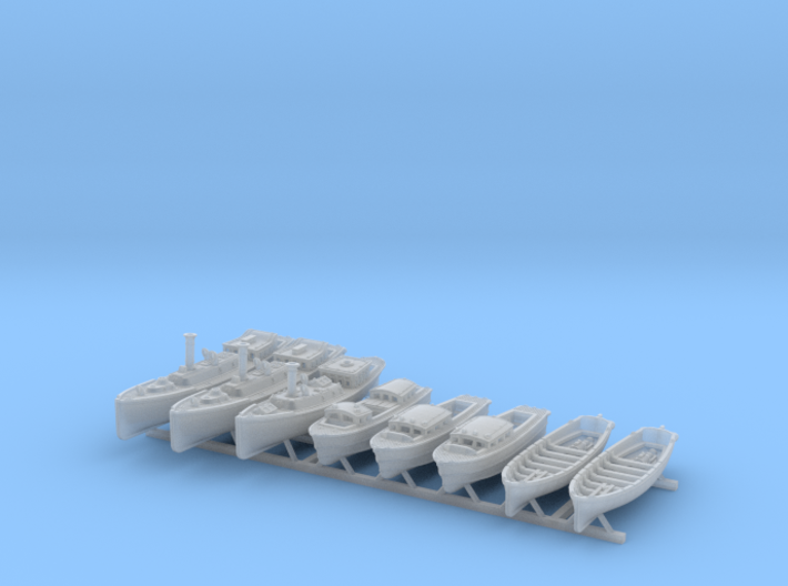 1/500 WW2 RN Boat Set 4 Without Mounts 3d printed 1/500 WW2 RN Boat Set 4 Without Mounts