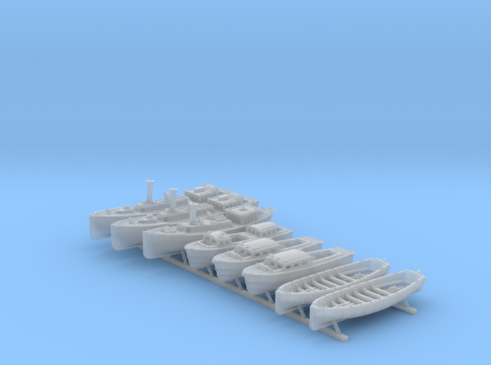 1/350 WW2 RN Boat Set 4 Without Mounts 3d printed 1/350 WW2 RN Boat Set 4 Without Mounts