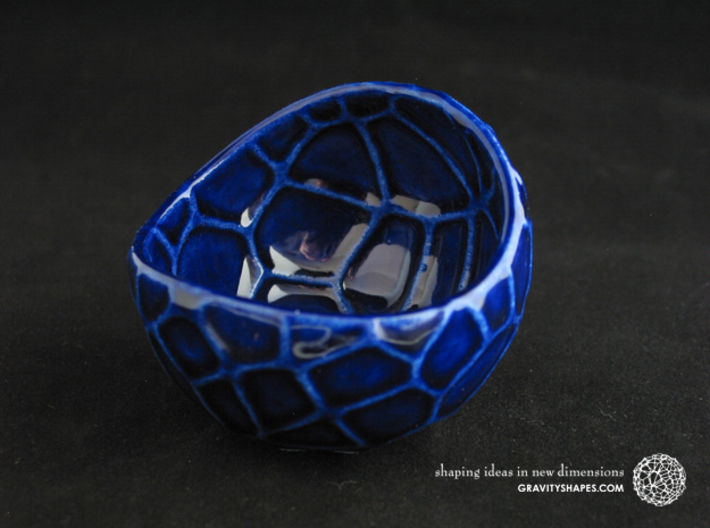 Porcelain plant pot #13 (size small, round) 3d printed Porcelain plant pot #13 (size small, round) - Cobalt Blue
