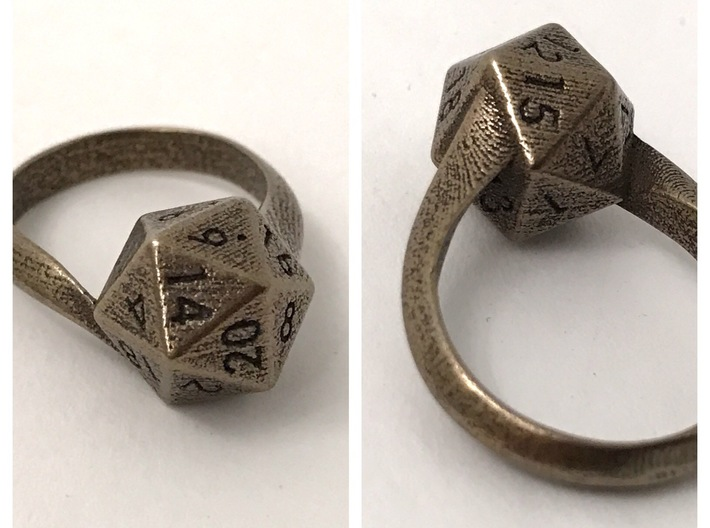 D20 Ring 3d printed Stainless Steel