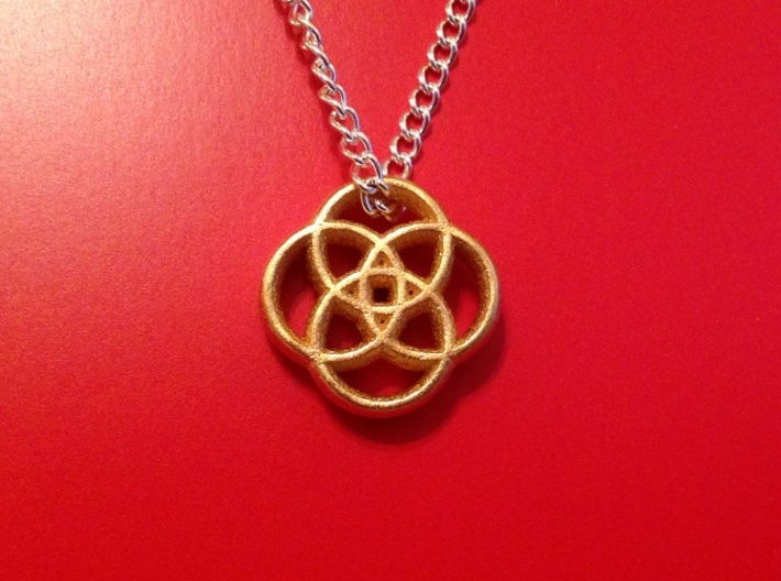 Four Circles 3d printed Matte Gold Steel