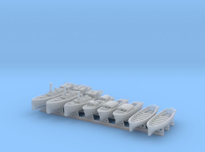 1/600 WW2 RN Boat Set 4 with Mounts 3d printed 1/600 WW2 RN Boat Set 4 with Mounts