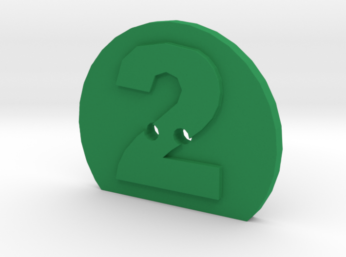 2 Hole Number 2 Button 3d printed