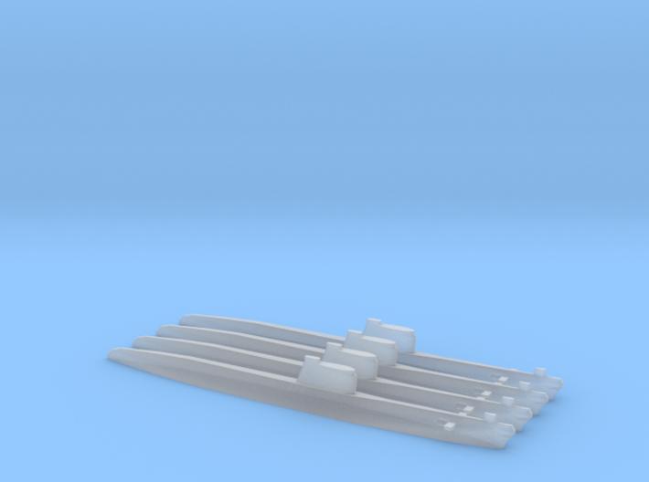 Foxtrot-class submarine x 4, 1/1800 3d printed