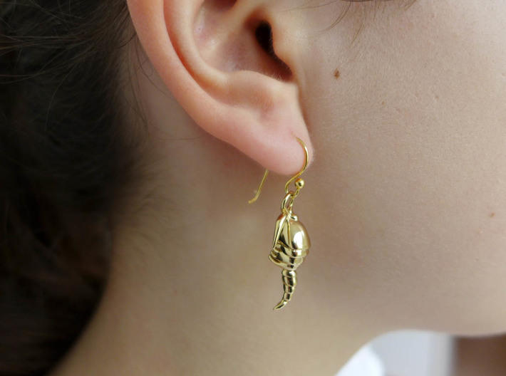 Copepod Earrings - Science Jewelry 3d printed Copepod earring in polished brass