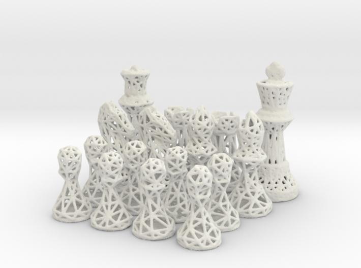 Chess Set Voronoi - Mini 3d printed