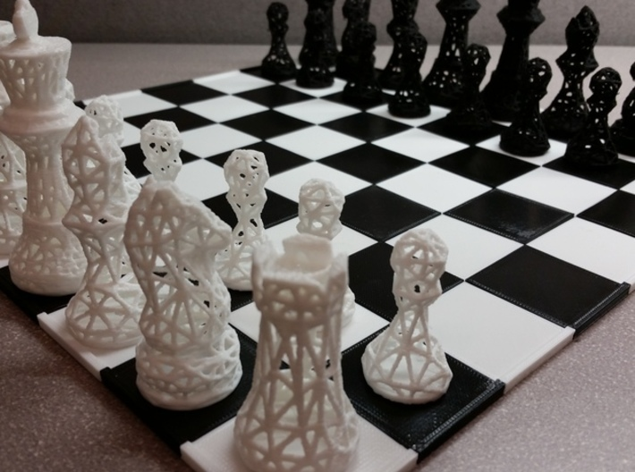 Chess Set Voronoi - Mini 3d printed 3D printed in white and black plastic! (Chess board not included)