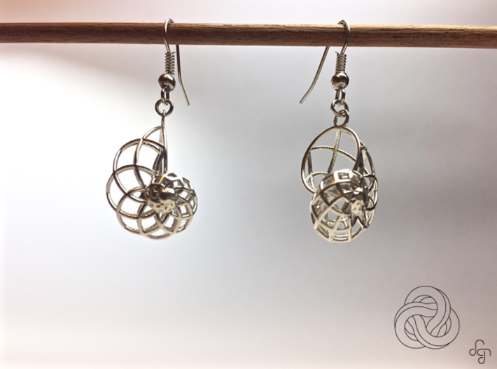Conchoid Earrings 3d printed Earring [Polished Silver] (Hooks NOT included)