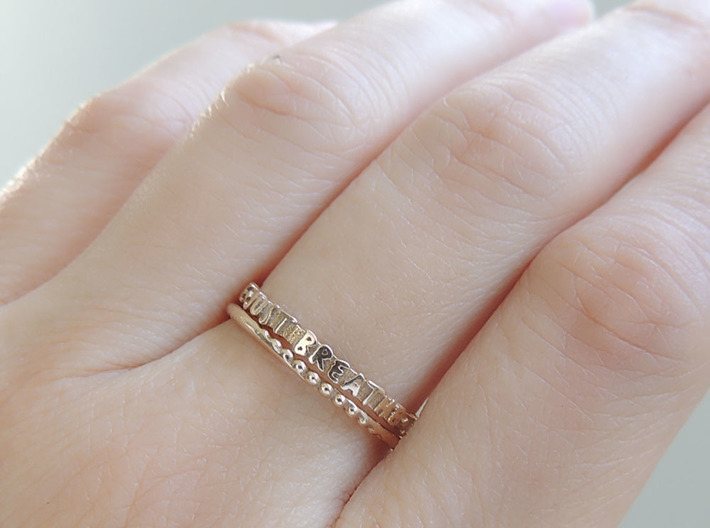 Just Breathe Ring (Multiple Sizes) 3d printed Stacked Rings in Polished Bronze