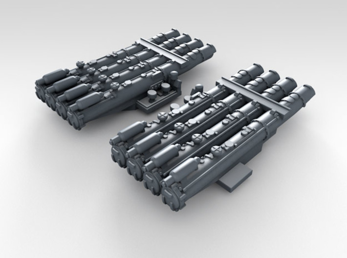 1/700 Scale RN WW2 Quad Torpedo Tubes x2 3d printed 3d Render displaying detail