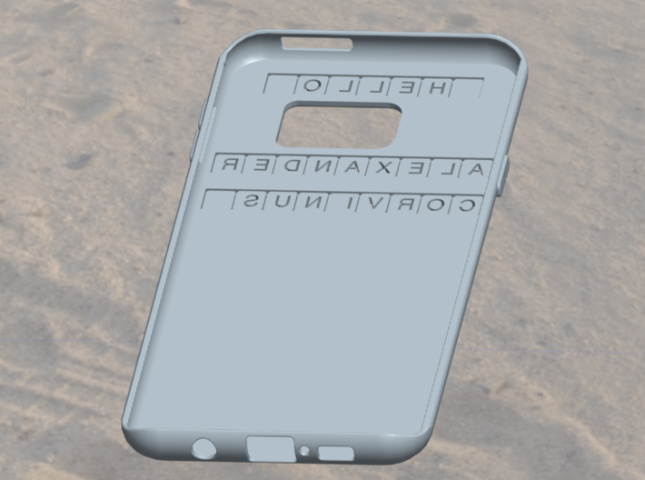 "Letters for ""Nominal case for smartphone"" 3d printed"