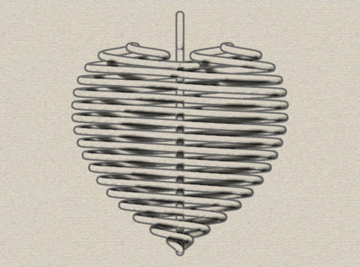 Coiled Heart with Bail 3d printed