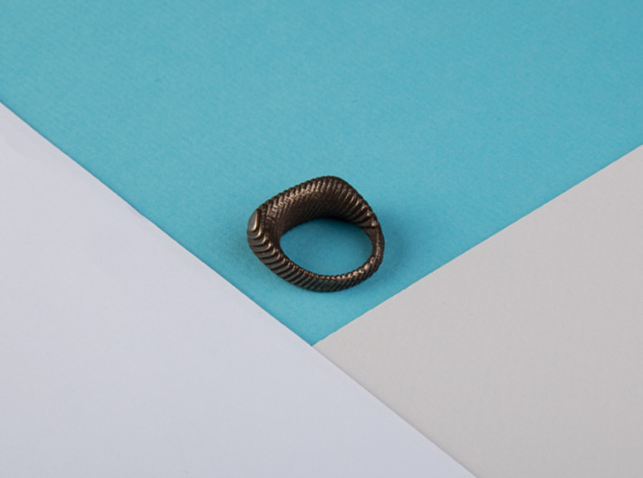 archetype - signature ring 3d printed pictured material: polished bronze steel