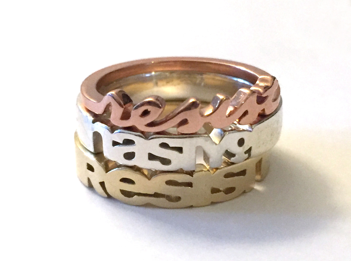 Resist Script Ring in Rose Gold Plated 3d printed Shown: Resist Script Ring in Rose Gold Plated, Nasty Woman Ring in Polished Silver and Resist Ring in 14K Gold Plated