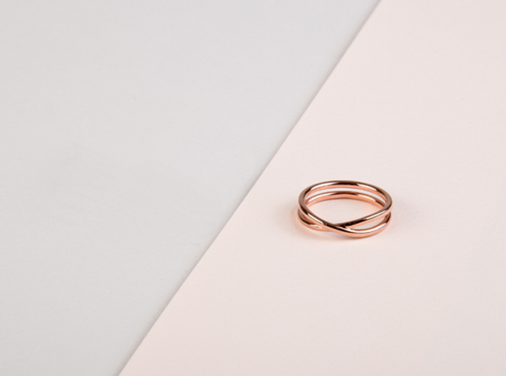 rollercoaster - internal ring 3d printed pictured image: rose gold plated