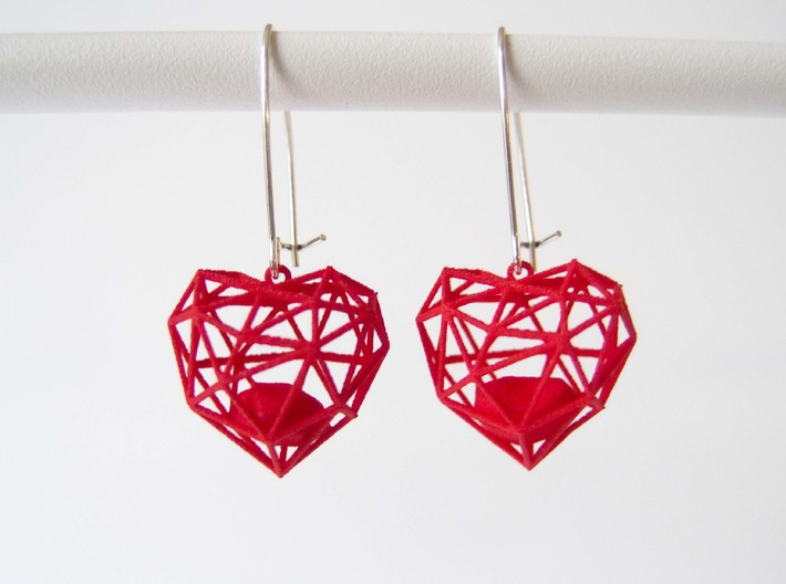 Wireframe Heart Earring 3d printed