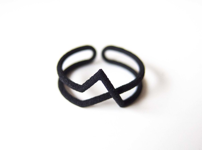 Continuous Geometric Ring  3d printed Black strong & flexible