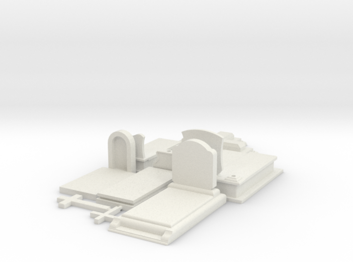 HO/1:87 Cemetery set 2 - graves kit 3d printed