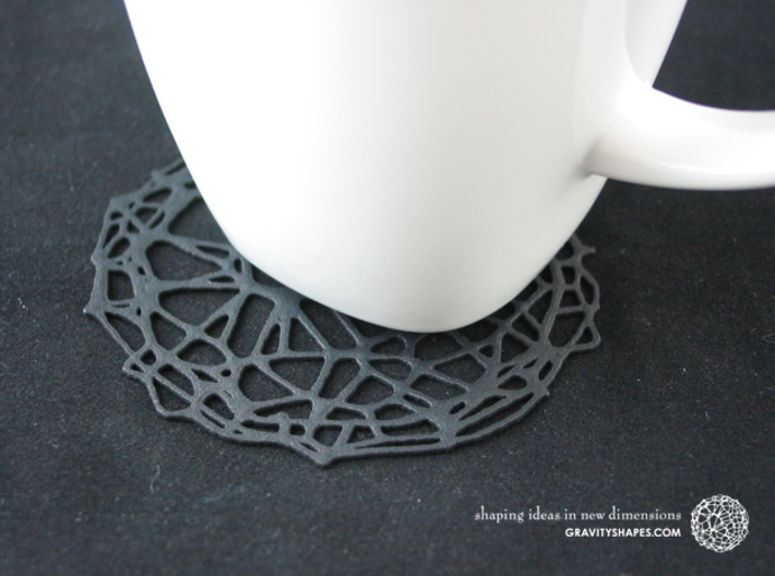 6er Drink Coaster Set - Voronoi #9 (Thin) 3d printed Drink Coaster - Voronoi #9 (black)
