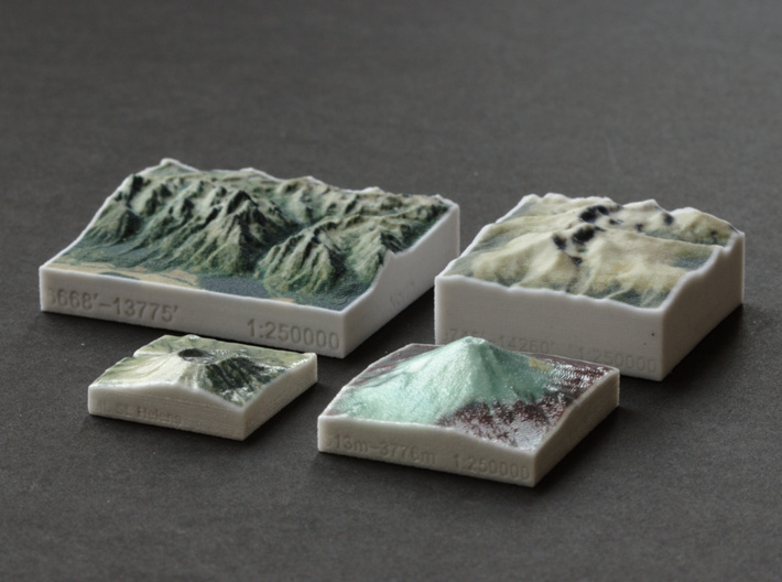 Grand Tetons, Wyoming, USA, 1:250000 Explorer 3d printed Photo alongside other mountains: Mt. St. Helens, Mt. Fuji, Longs Peak