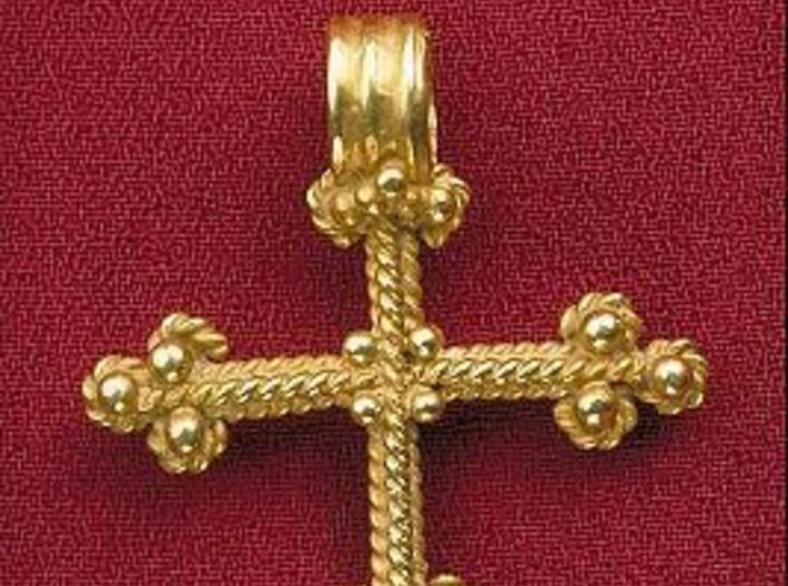 Twisted Wire Cross Pendant 3d printed Found in Aggarp, Sweden, aprox. 15th century.