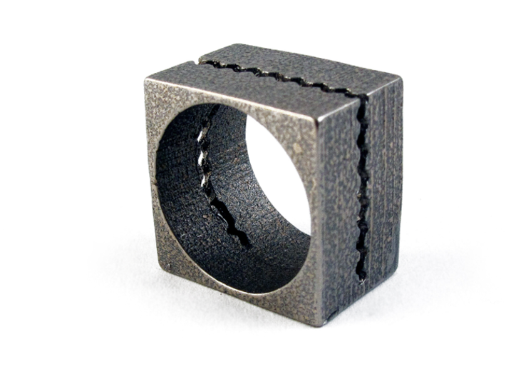 Wavecut ring 3d printed Stainless Steel version