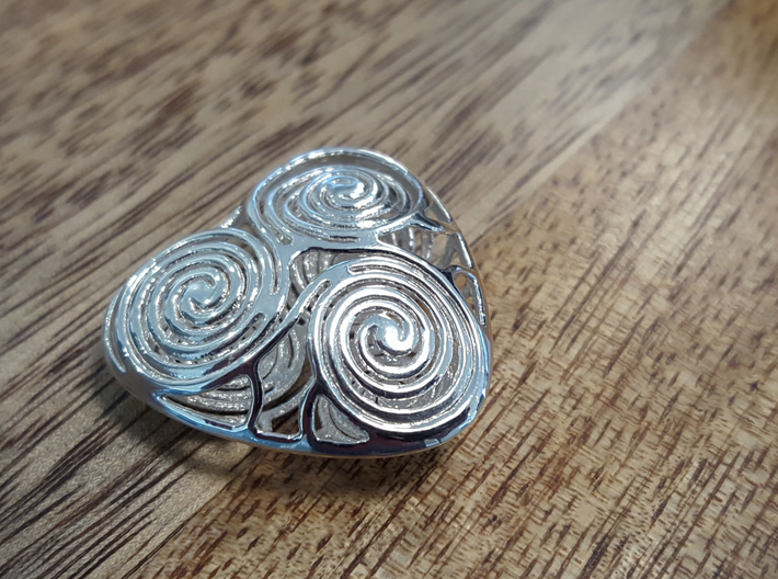 live, love and laugh celtic heart 3d printed Polished Silver