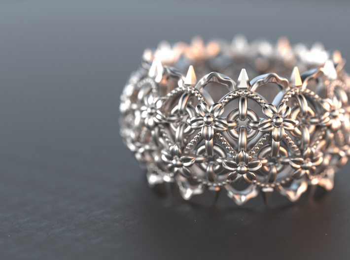 Thorns and Flowers Ring 3d printed