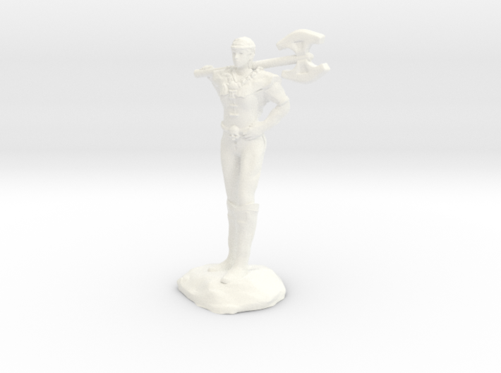 Female Barbarian Human With Great Axe and Braid 3d printed