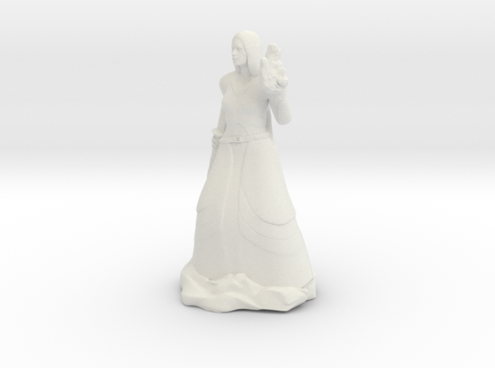 Female Half Elf Bard with Rapier and Uilleann pipe 3d printed