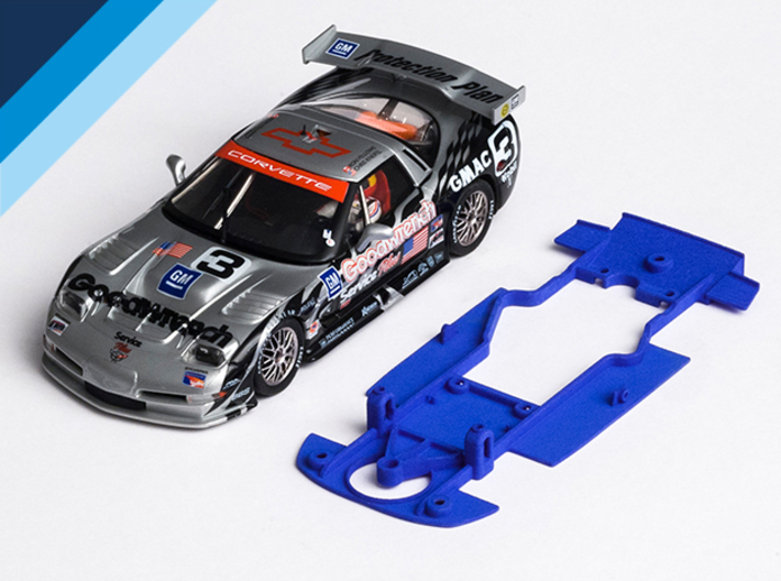 1/32 Fly Chevrolet Corvette C5-R Chassis S.it AW 3d printed Chassis compatible with Fly Chevrolet Corvette C5-R body (not included)