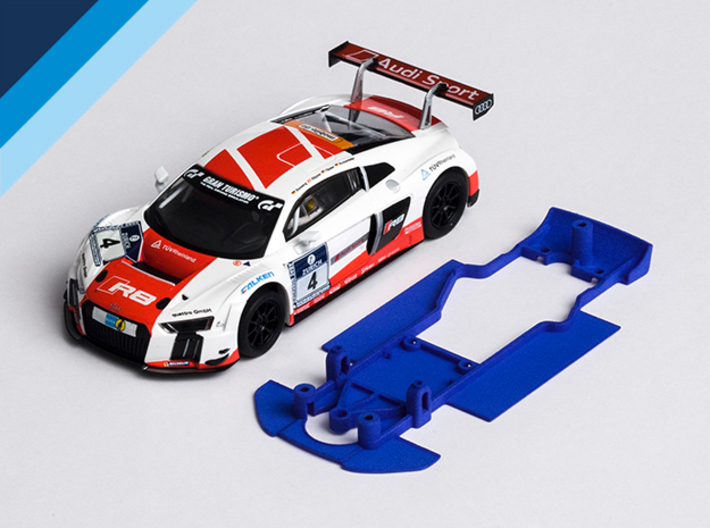 1/32 SCX Audi R8 LMS Chassis for Slot.it AW pod 3d printed Chassis compatible with SCX Audi R8 LMS Ultra GT3 body (not included)
