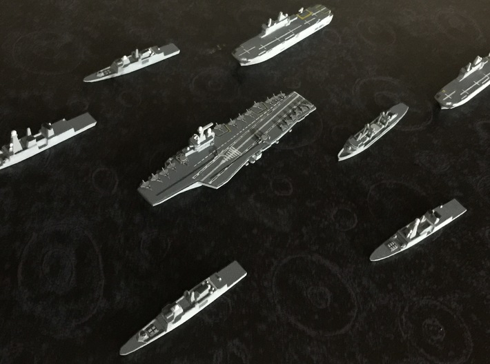 FS Charles de Gaulle (R91), 1/1800 3d printed w/ FREMM Frigates, Horizon Frigates, Durance  Tanker and airwing set.