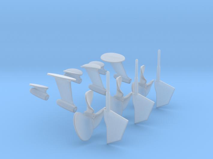 1-24 PT Elco Rudder-Propeller-Shaft Strut Set1 3d printed