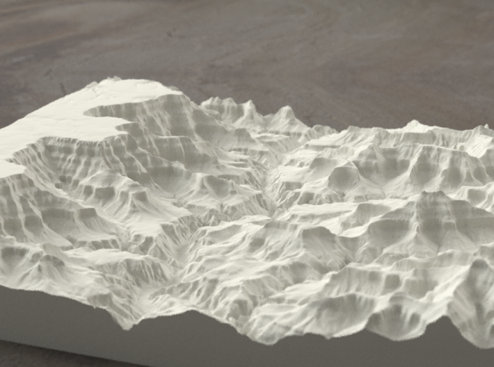 8'' Grand Canyon, Arizona, USA, Sandstone 3d printed Radiance rendering of model, looking toward the west.