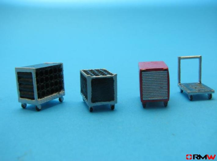 HO/1:87 Rollcontainer set 1b (with bottles) kit 3d printed Diorama example (figures not included)