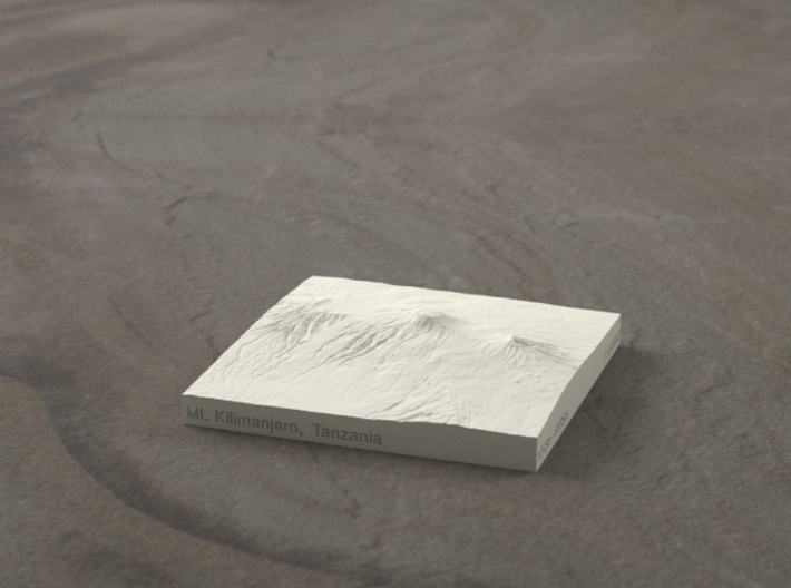 3''/7.5cm Mt. Kilimanjaro, Tanzania, Sandstone 3d printed Radiance rendering of model, viewed from the south.
