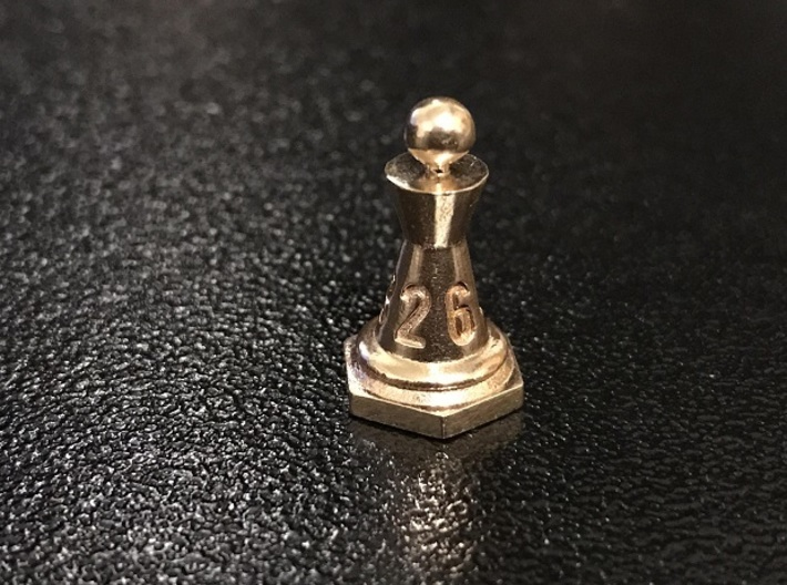 Chess-shaped Dice Set (small) 3d printed customer print in raw bronze